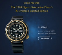 "Load image into Gallery viewer, Seiko PROSPEX 2018 ""1000M GOLDEN TUNA"" Re-editions S23626J1"