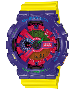 "Casio G SHOCK ""HYPER COLOR"" Series GA-110HC (Yellow/Purple)"