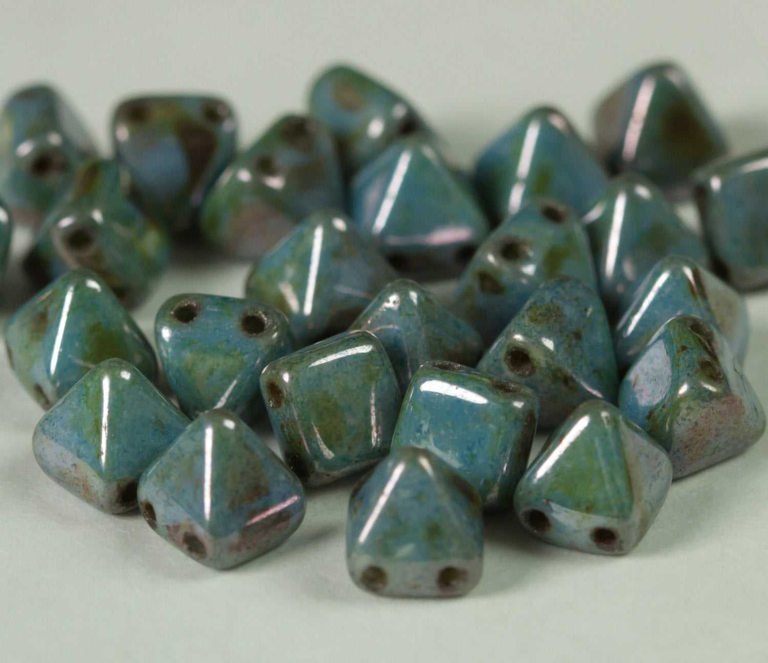 Czech Glass 6mm 2 hole Pyramid Robins Egg