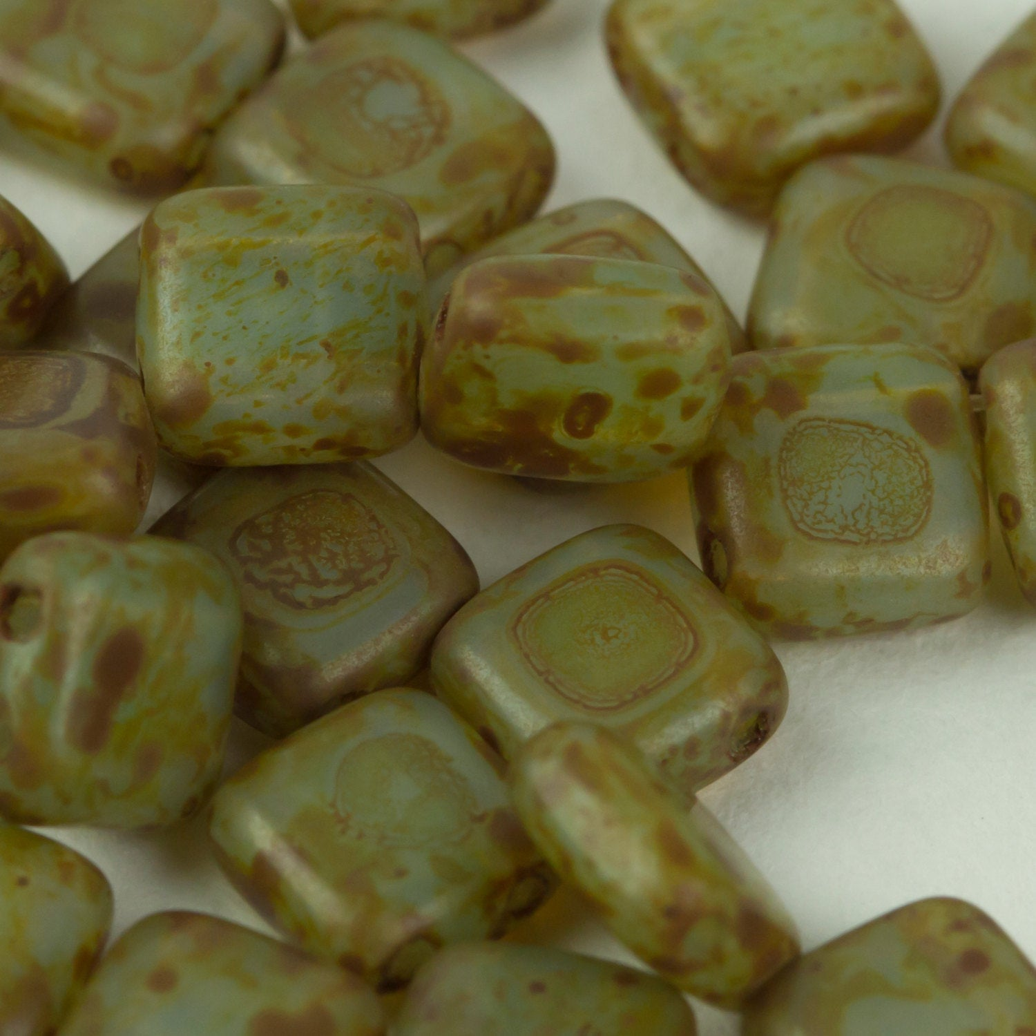 Beads, Two Hole Czech Glass 6mm Tile Bead in Aqua Travertine 25 pcs