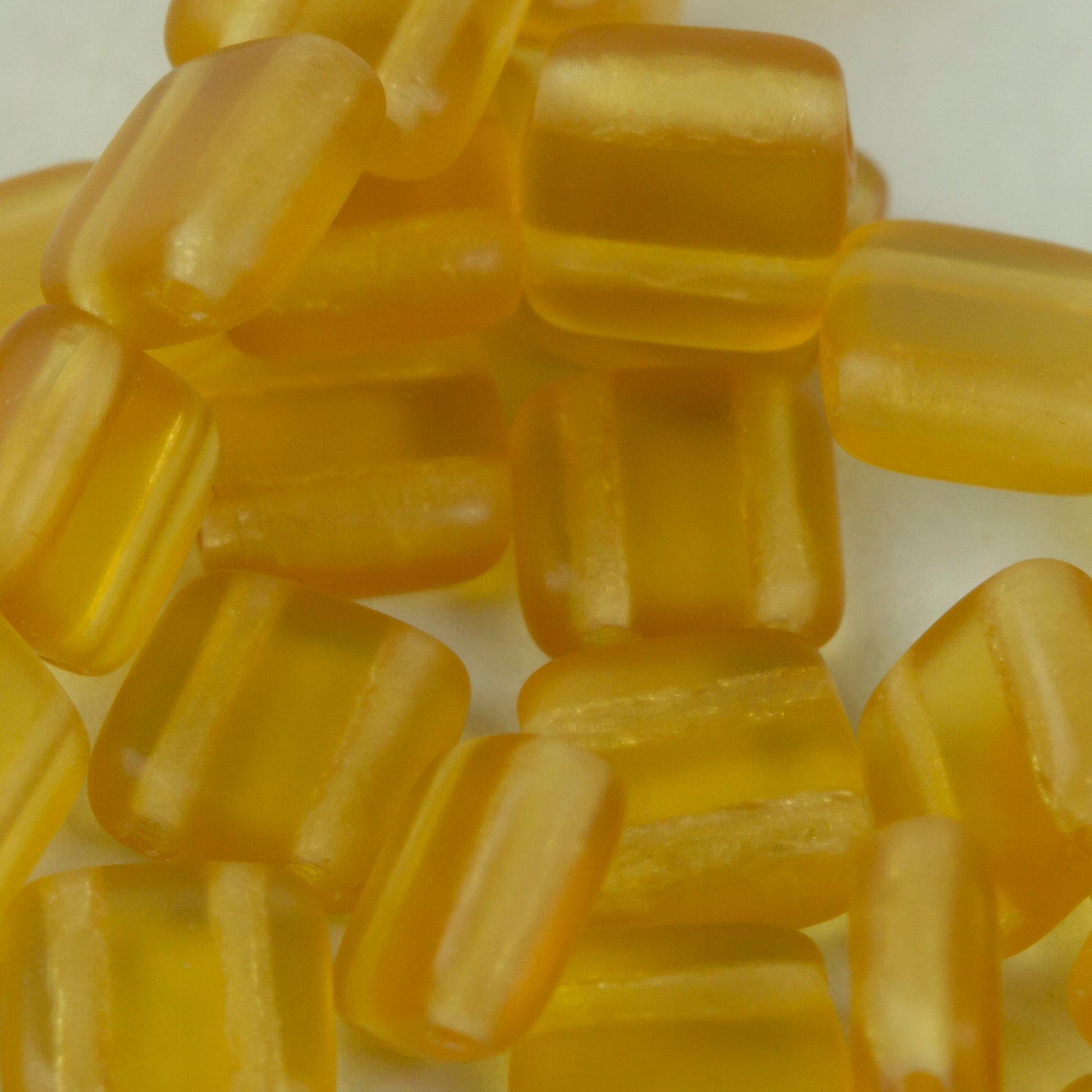 Czech Glass Tile Bead Amber Matte Transparent