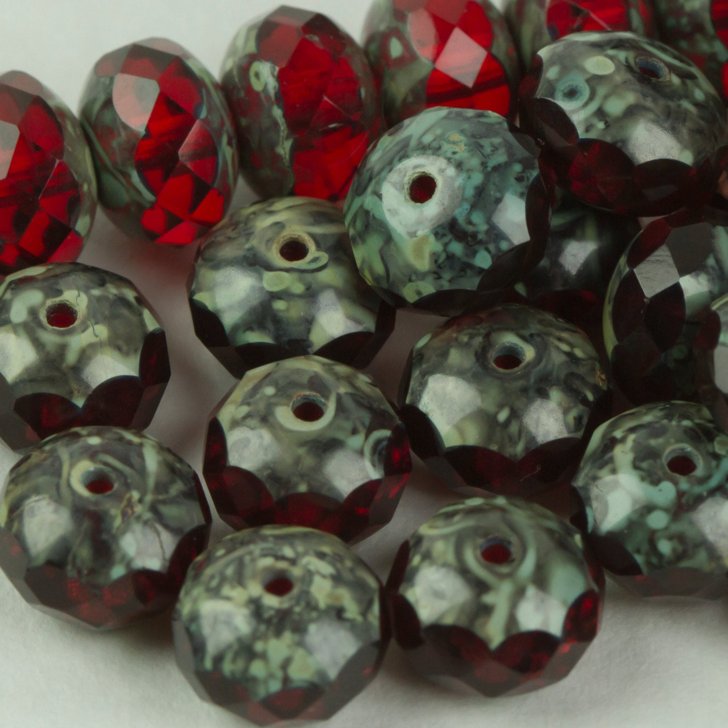 Beads, Czech Glass Beads Red Travertine, 17 pieces C3300