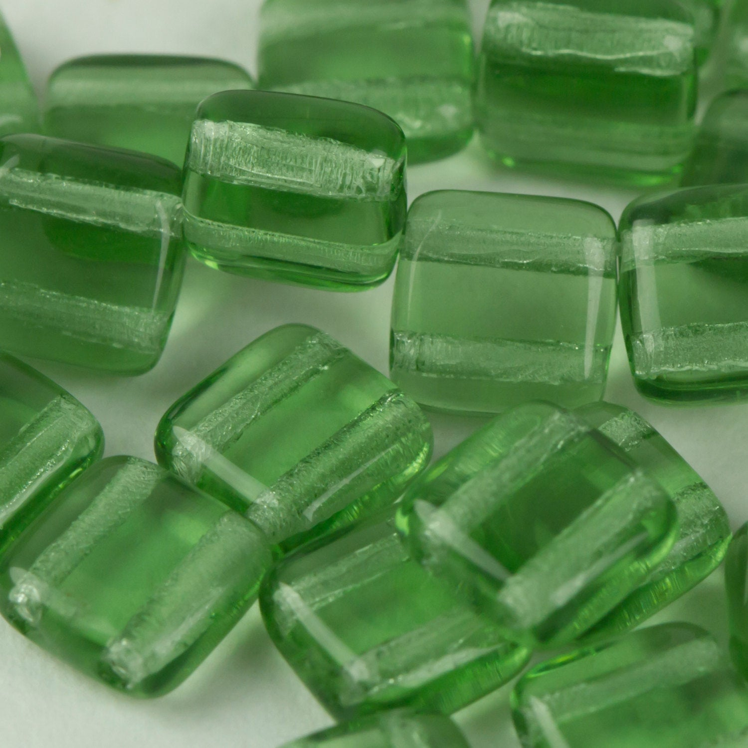 Czech Glass 6mm Tile Bead Ernite Transparent