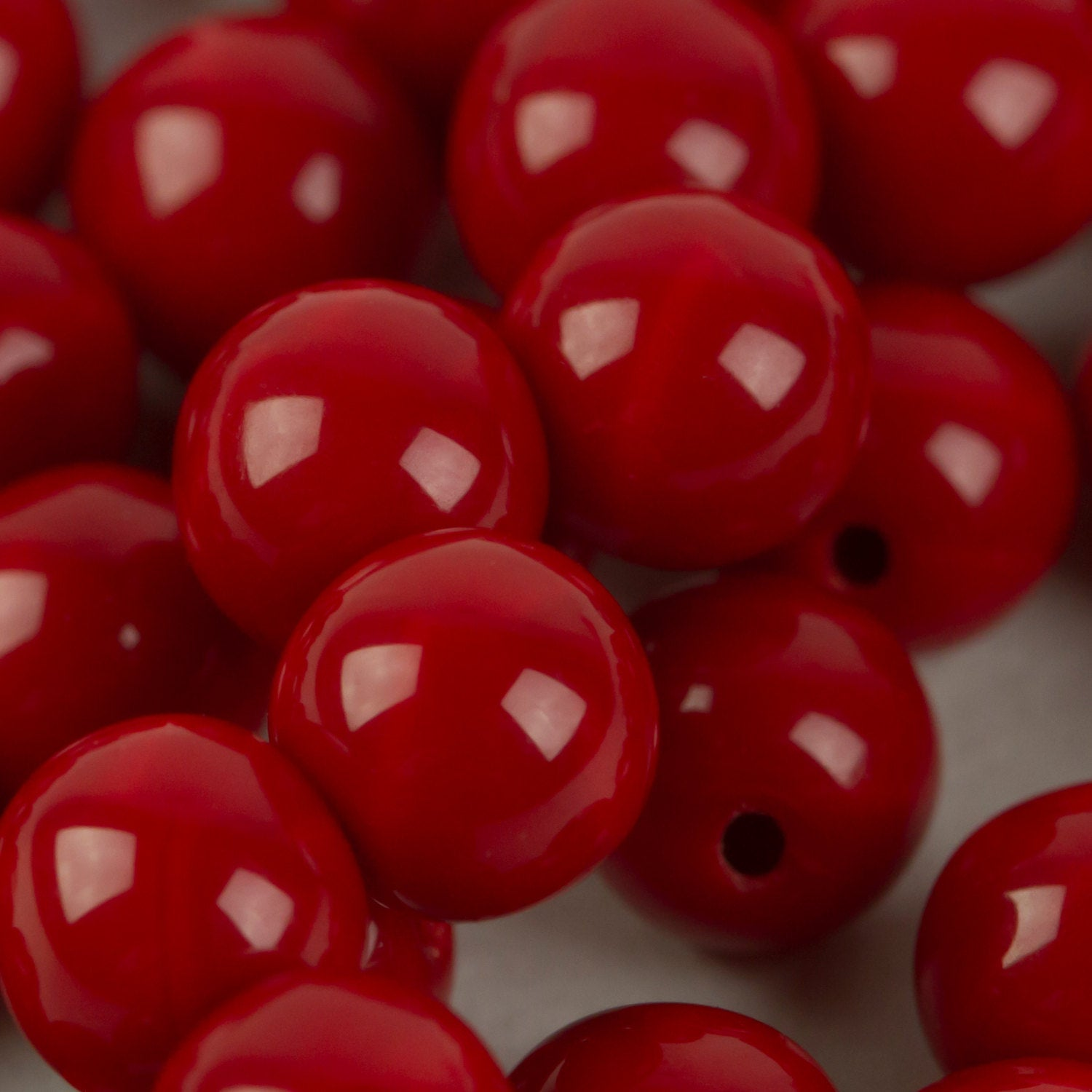 Beads 6mm Opaque Red Mushroom 22 pieces C262