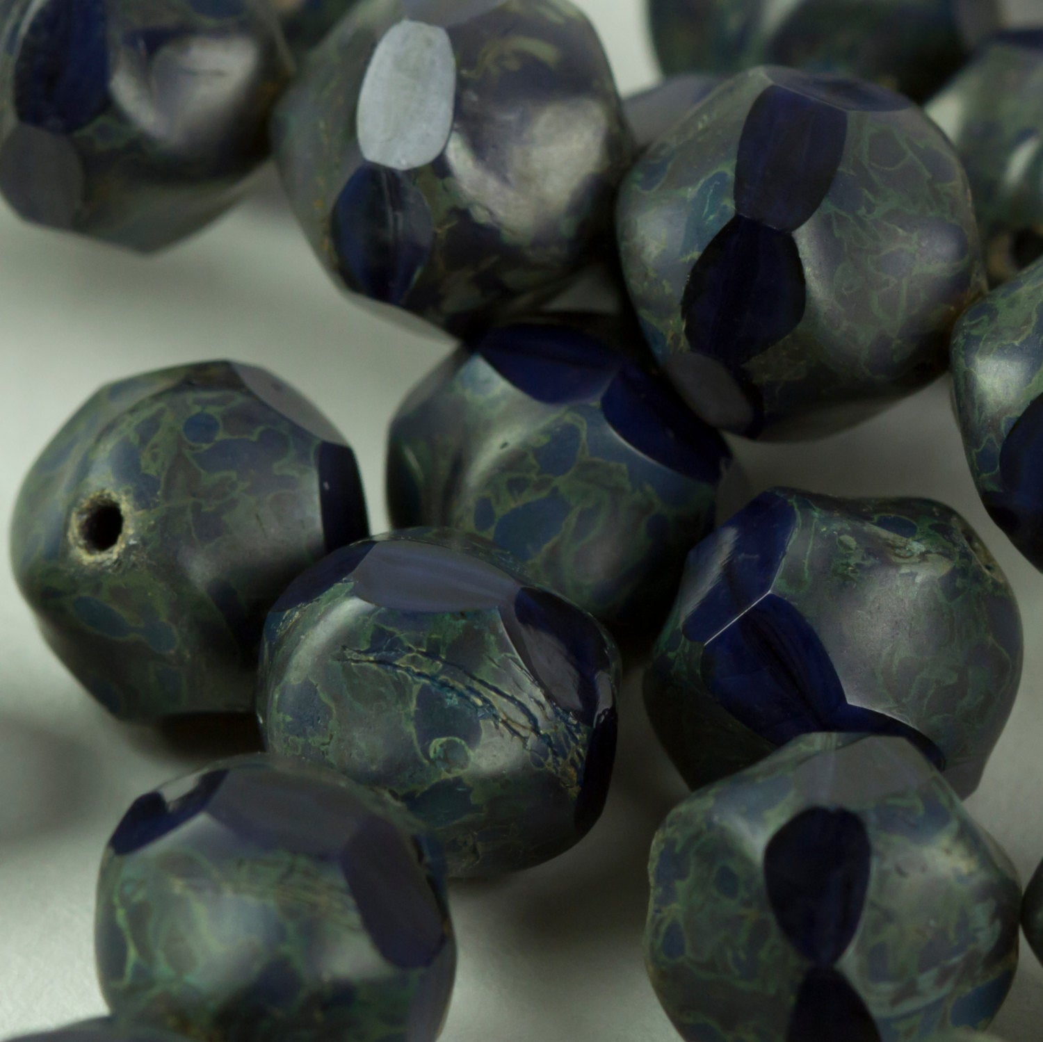 Bead Czech Glass Navy Squiggle