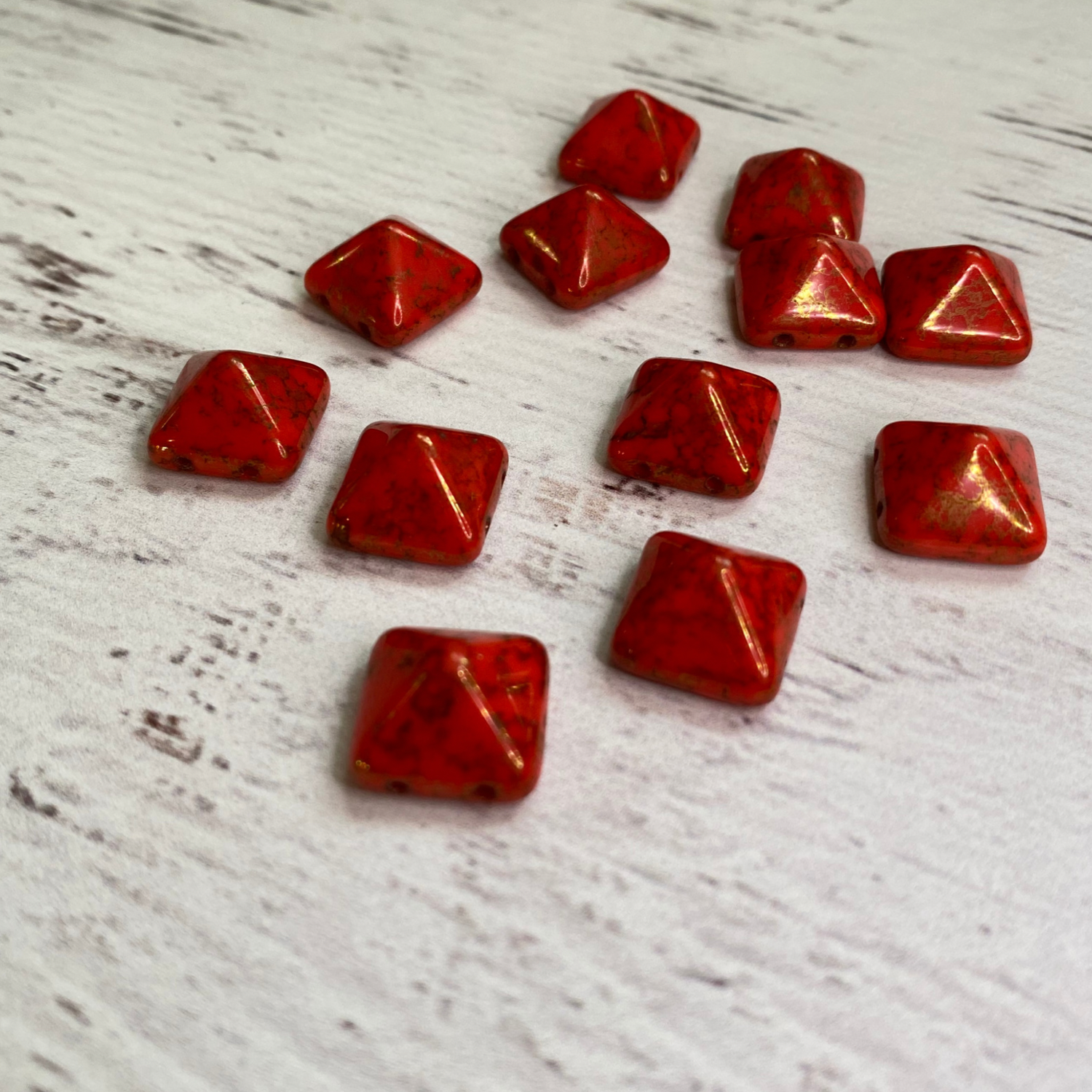 Czech Glass two hole 12mm Pyramid Red Orange/Gold