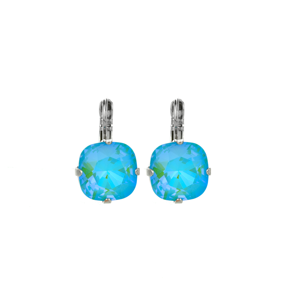 "Cushion Cut Leverback Earrings in Sun-Kissed ""Aqua"" *Preorder*"