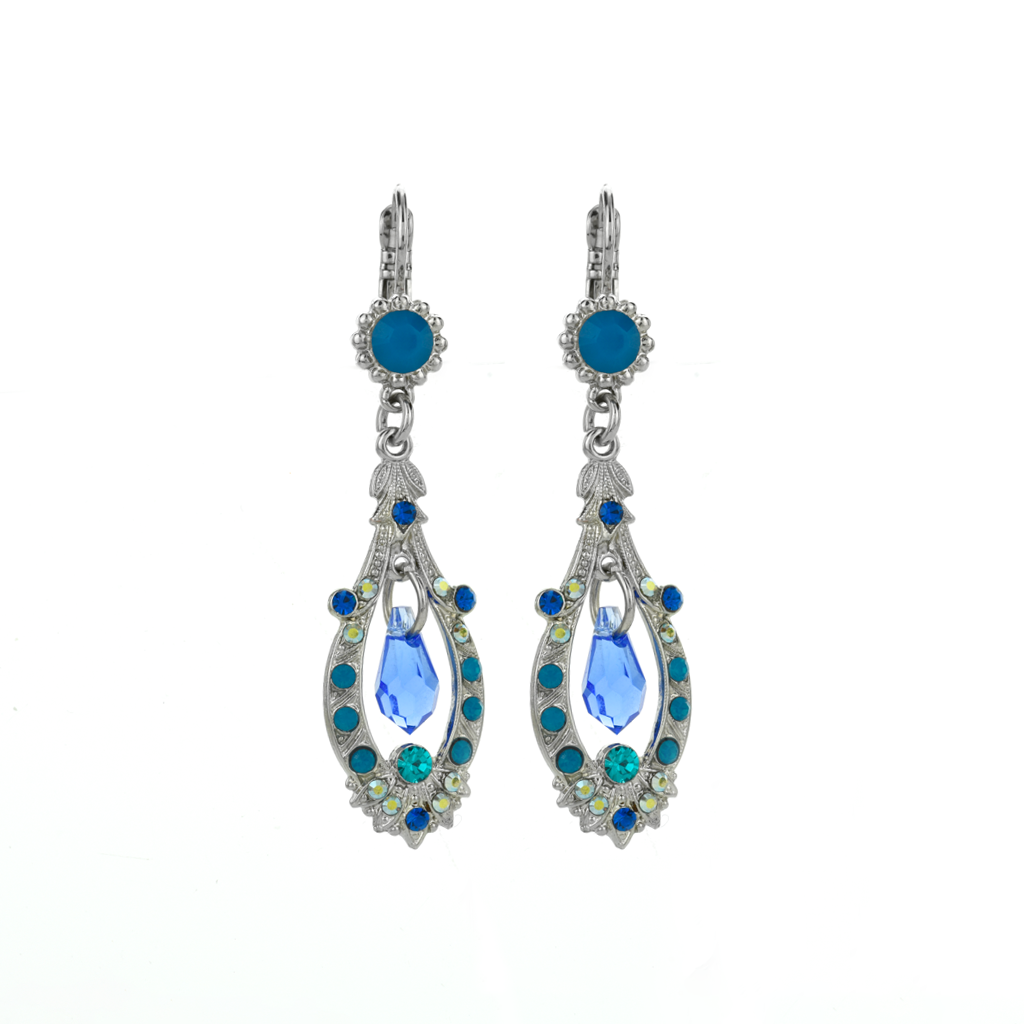 "Open Oval Leverback Earrings with Dangle Briolette in ""Serenity"" *Preorder*"