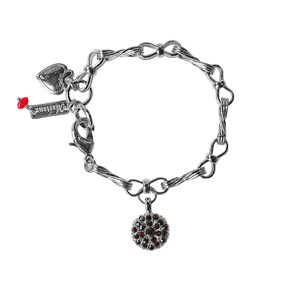 "Twist Chain Link Guardian Angel Bracelet in ""Garnet"""