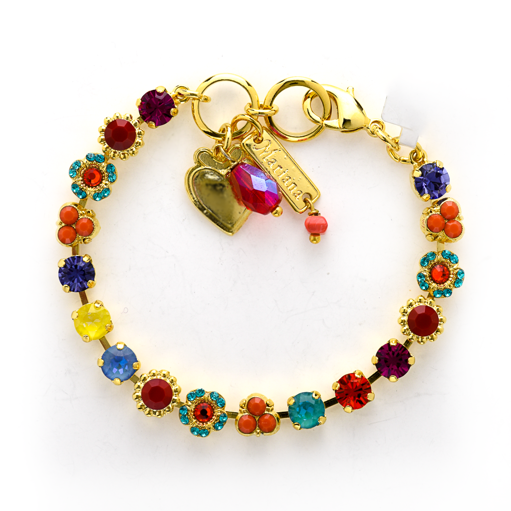 "Petite Flower and Cluster Bracelet in ""Poppy"" *Preorder*"