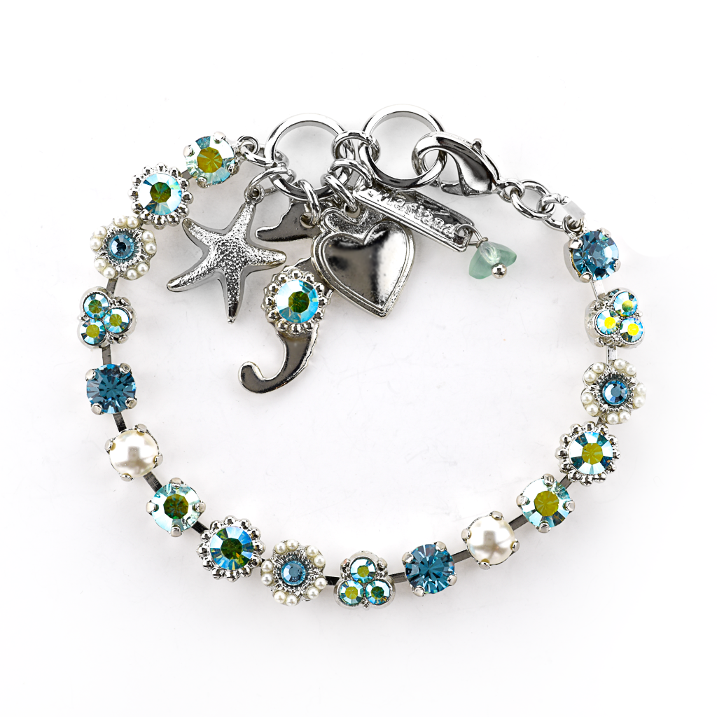 "Petite Flower and Cluster Bracelet with Sea Adornments in ""Stillwater"" *Preorder*"