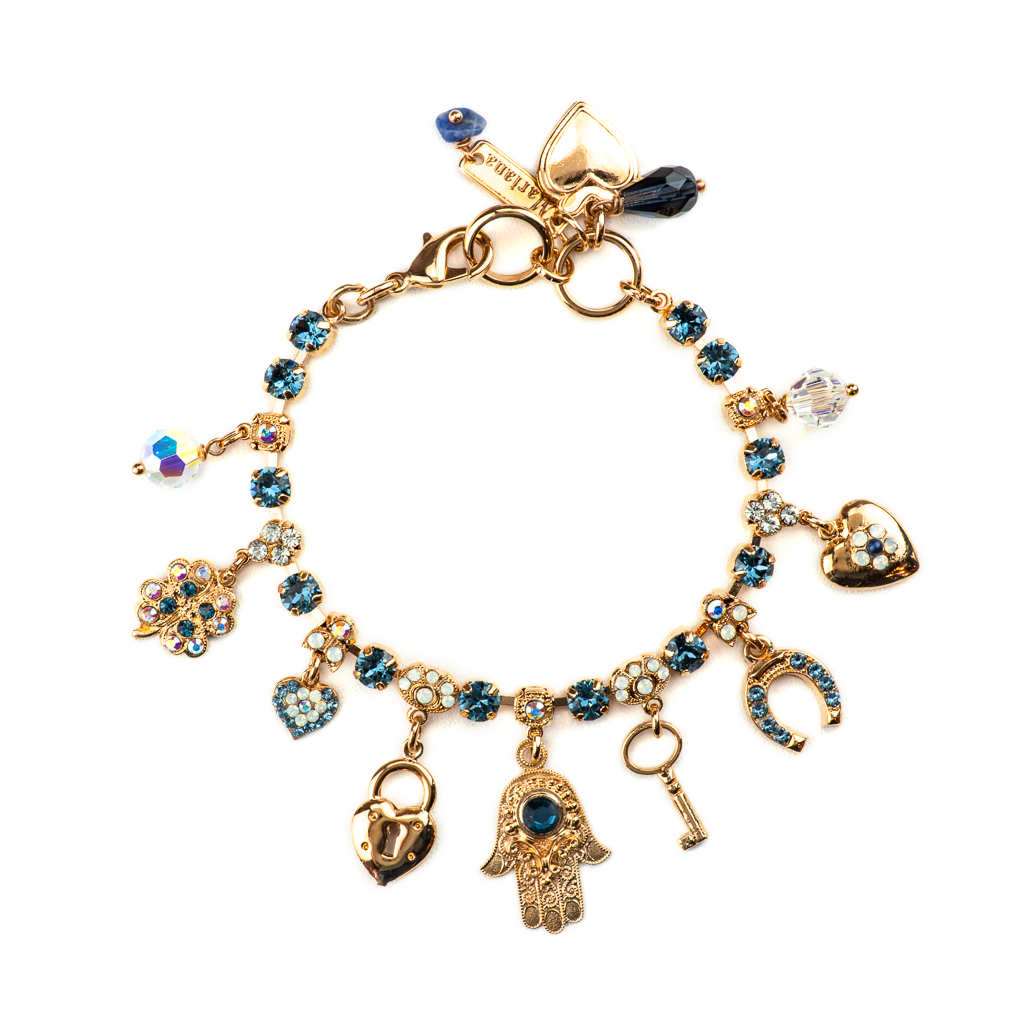 "Judaica Charm Bracelet in ""Mood Indigo"" - Rose Gold"