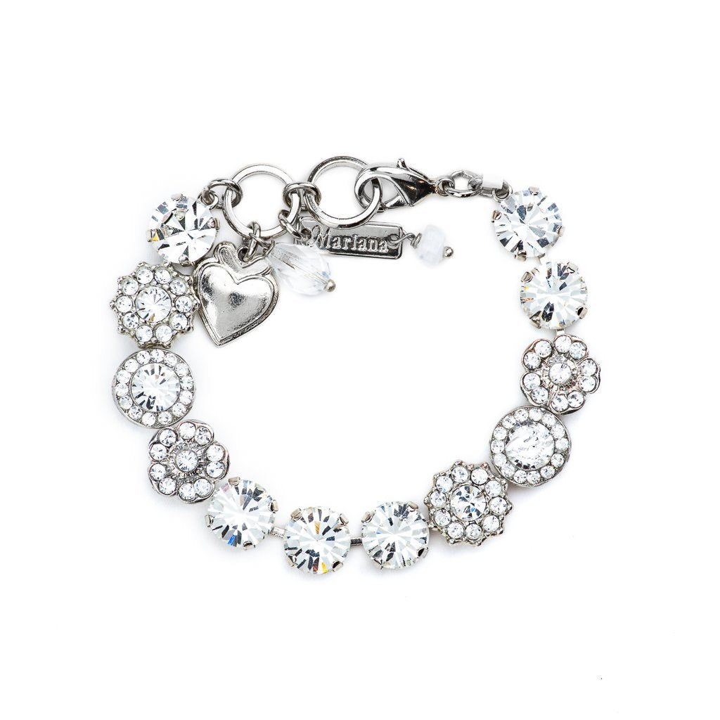 Lovable Rosette Bracelet in Clear - Rhodium