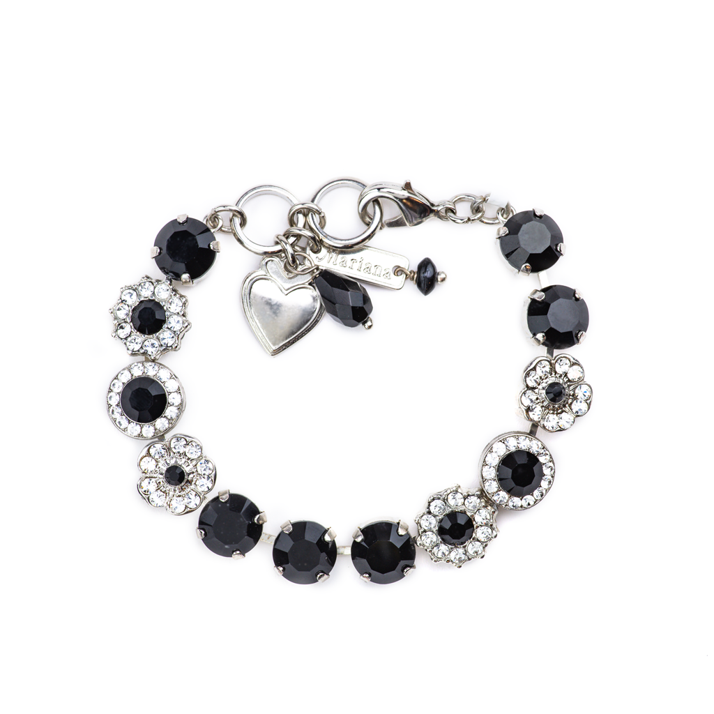 "Lovable Rosette Bracelet in ""Checkmate"" - Rhodium"