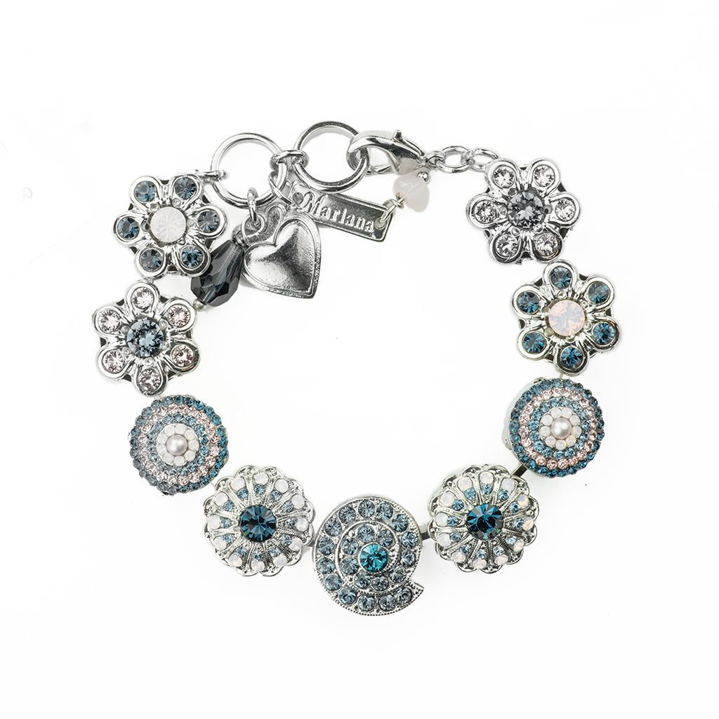 "Extra Luxurious Shell and Flower Bracelet in""Blue Morpho"" *Preorder*"