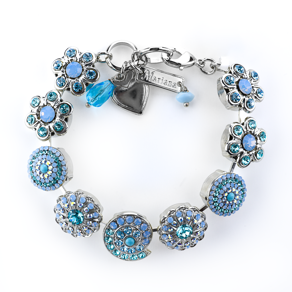 "Extra Luxurious Shell and Flower Bracelet in""Florida Blues"" *Preorder*"