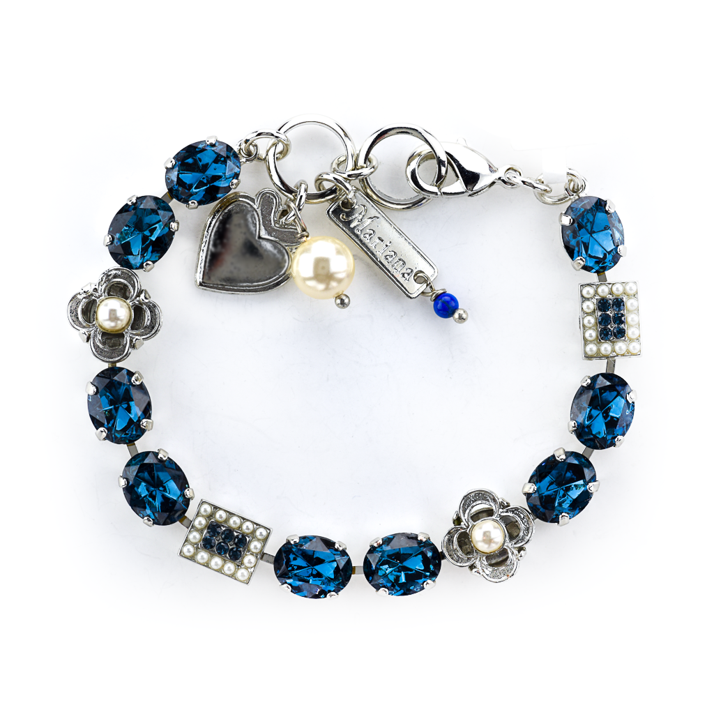 "Oval and Square Cluster Bracelet in ""Pearl Blue *Preorder*"