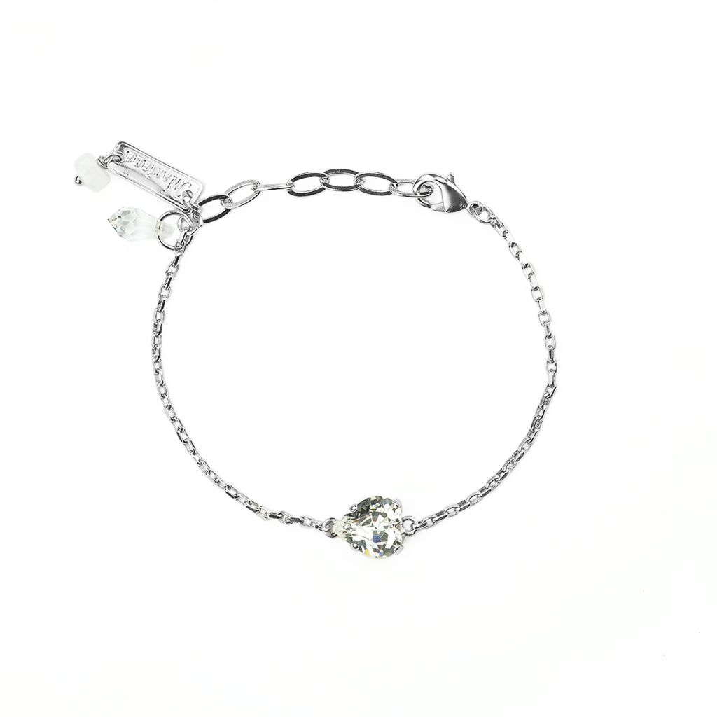 Heart Bracelet in Clear - Rhodium