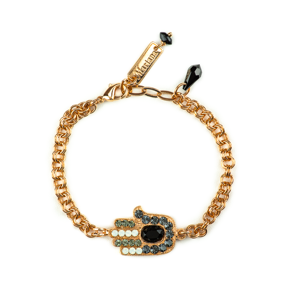"Hamsa Bracelet in ""Black Orchid"" - Rose Gold"