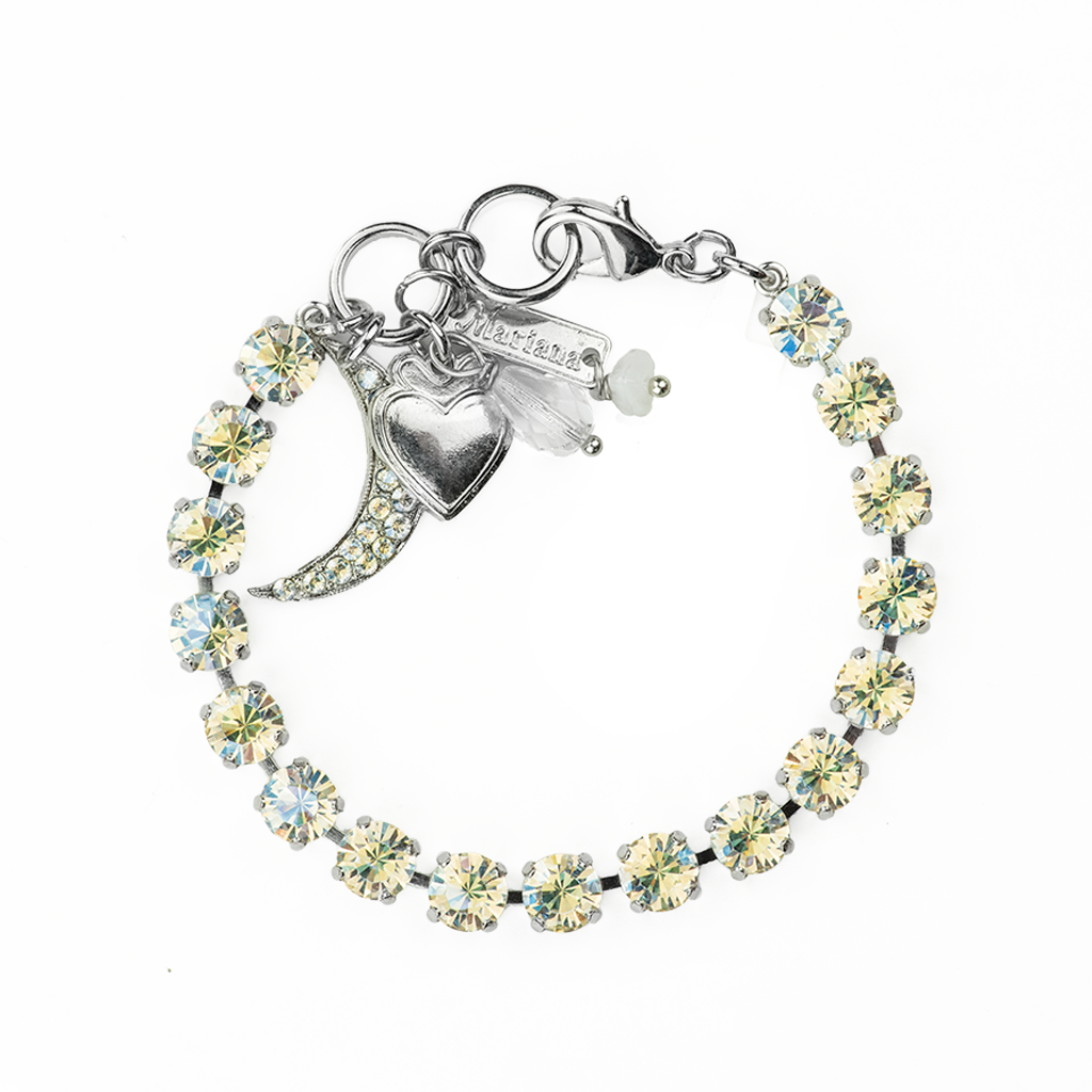 "Petite Bracelet with Crystal Encrusted Moon Dangle in ""Crystal Moonlight"" *Preorder*"