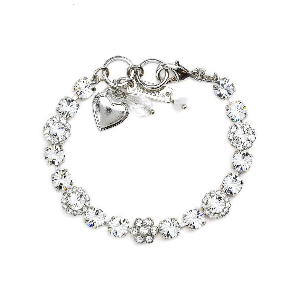 Must-Have Flower Bracelet in Clear - Rhodium
