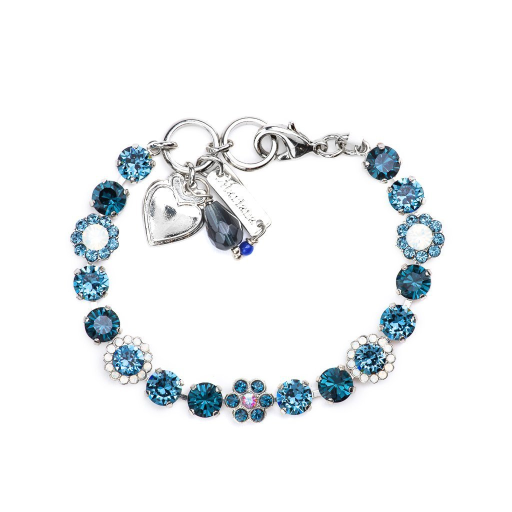 "Must-Have Flower Bracelet in ""Mood Indigo"" - Rhodium"
