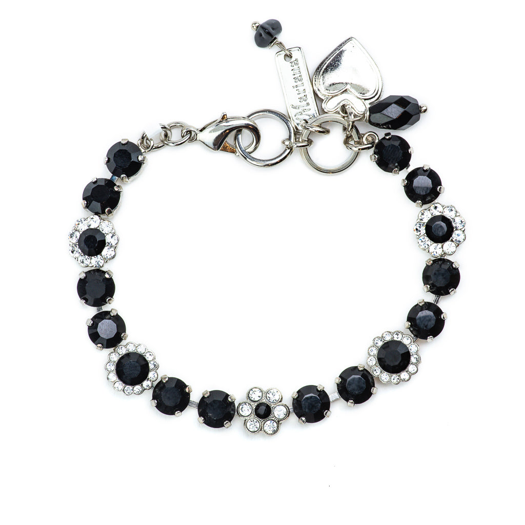 "Must-Have Flower Bracelet in ""Checkmate"" - Rhodium"