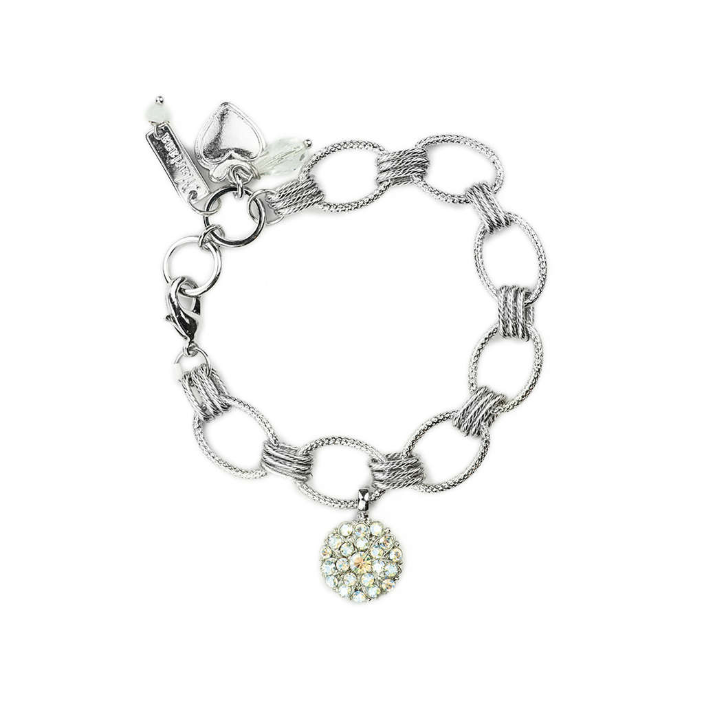 "Chain Link Guardian Angel Bracelet in ""Crystal Moonlight"" *Preorder*"
