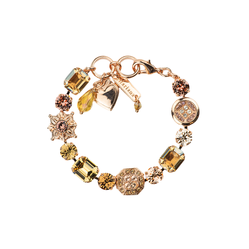 "Emerald Cut, Round, and Cluster Bracelet in ""Meadow Brown"" *Preorder*"