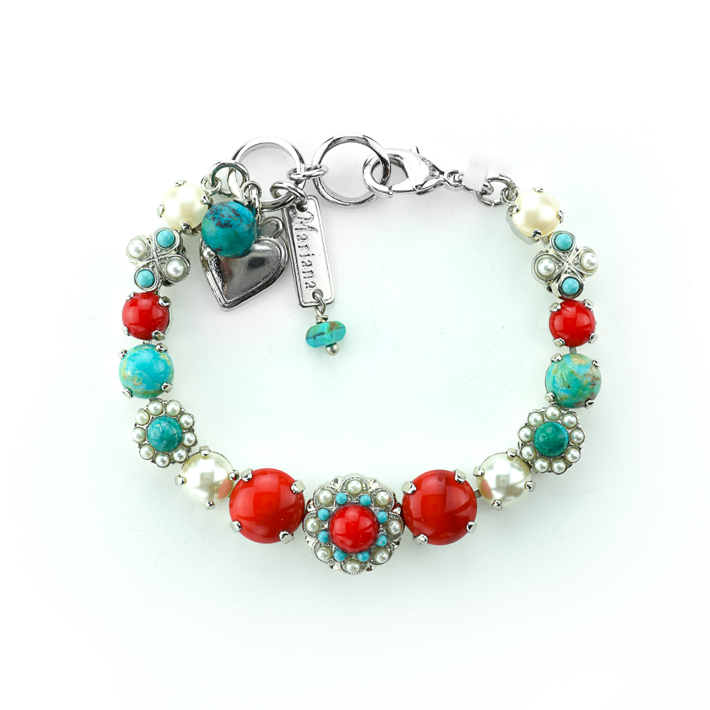 "Round Must-Have Bracelet with Rosettes in ""Happiness-Turquoise"" *Preorder*"