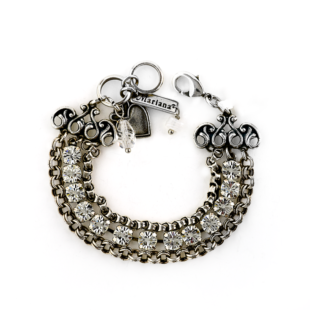 "Triple Row Bracelet with Petite Stones and Chain in ""On a Clear Day"" *Preorder*"
