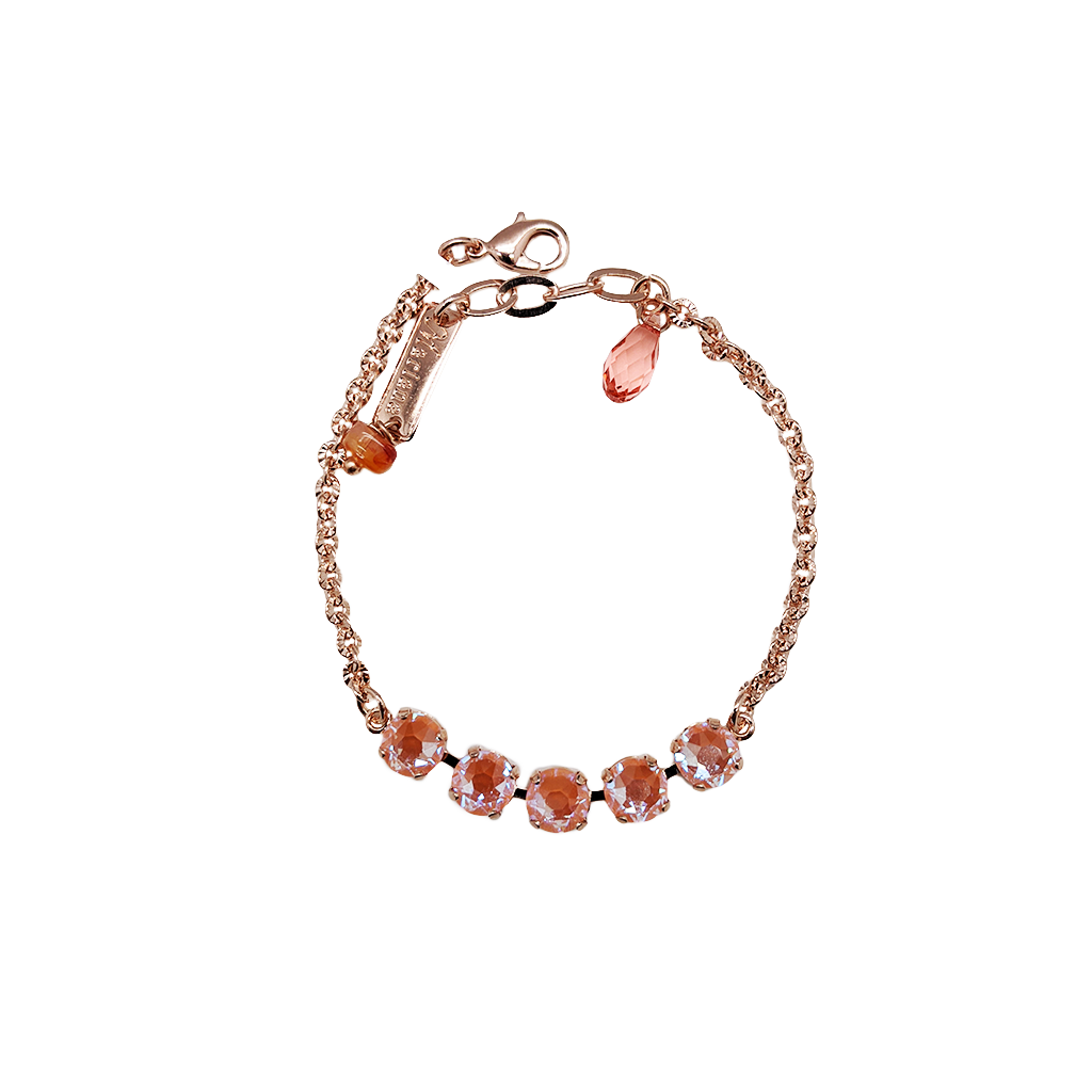 "Petite Five Stone Chain Bracelet in Sun-Kissed ""Peach"" *Preorder*"