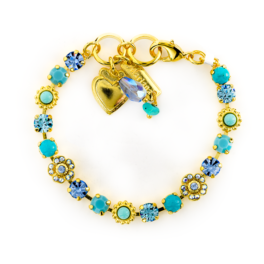 "Petite Flower and Cluster Bracelet in ""Turquoise"" *Preorder*"
