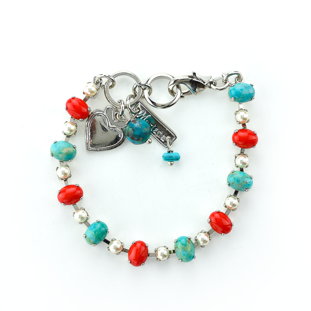 "Alternating Oval and Round Stone Bracelet in ""Happiness-Turquoise"" *Preorder*"