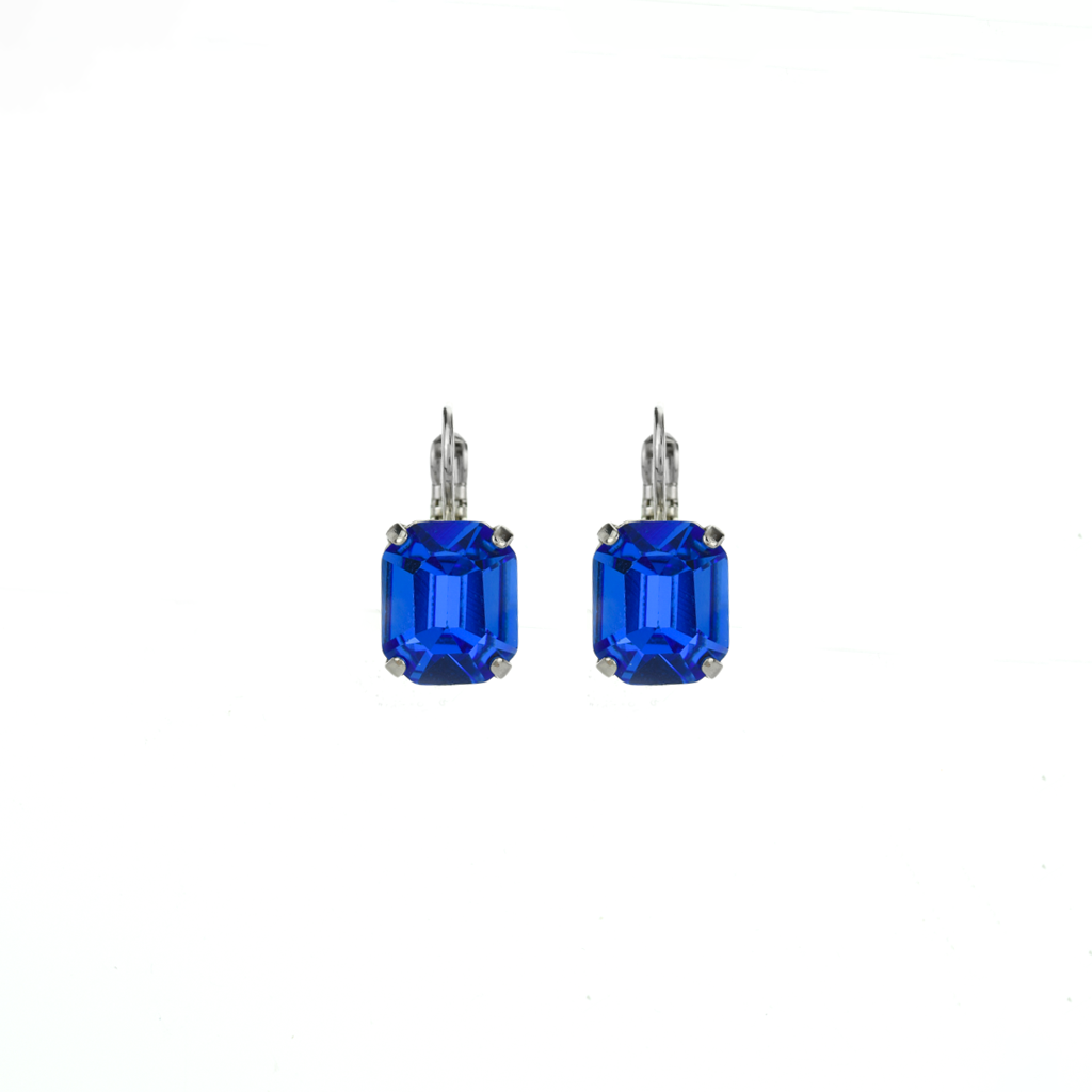 "Emerald Cut Leverback Earrings in ""Sapphire"" *Preorder*"