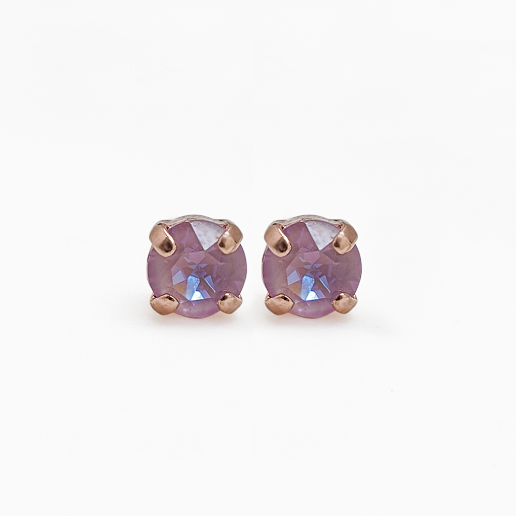 "Petite Single Stone Post Earring in ""Lavender""- Rose Gold"
