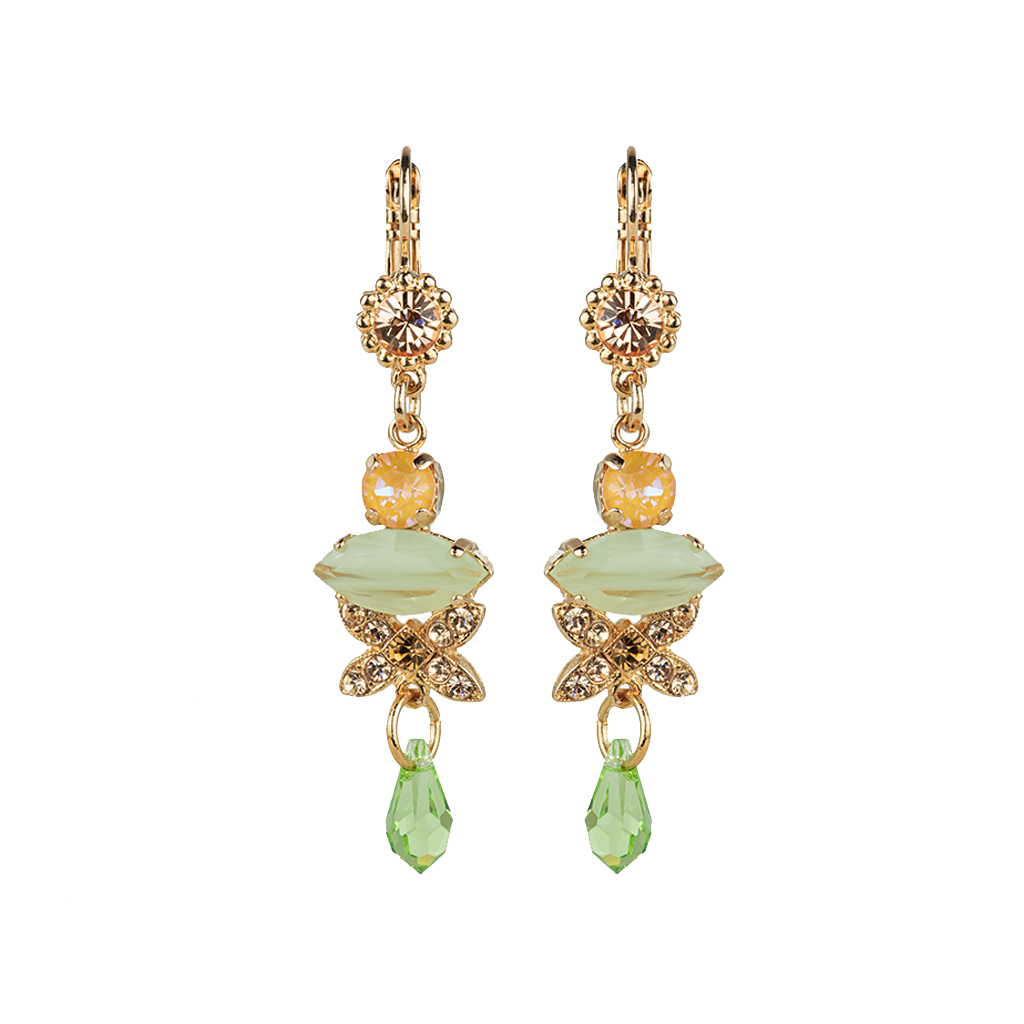 "Marquise and Round Long Dangle Leverback Earrings in ""Monarch"" *Preorder*"
