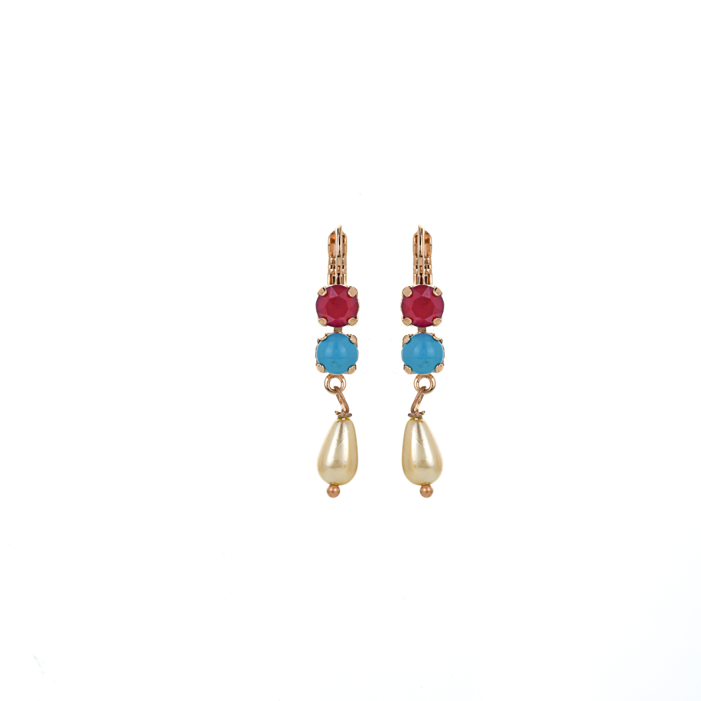 "Two Stone Dangle Leverback Earrings in ""Happiness"" *Preorder*"