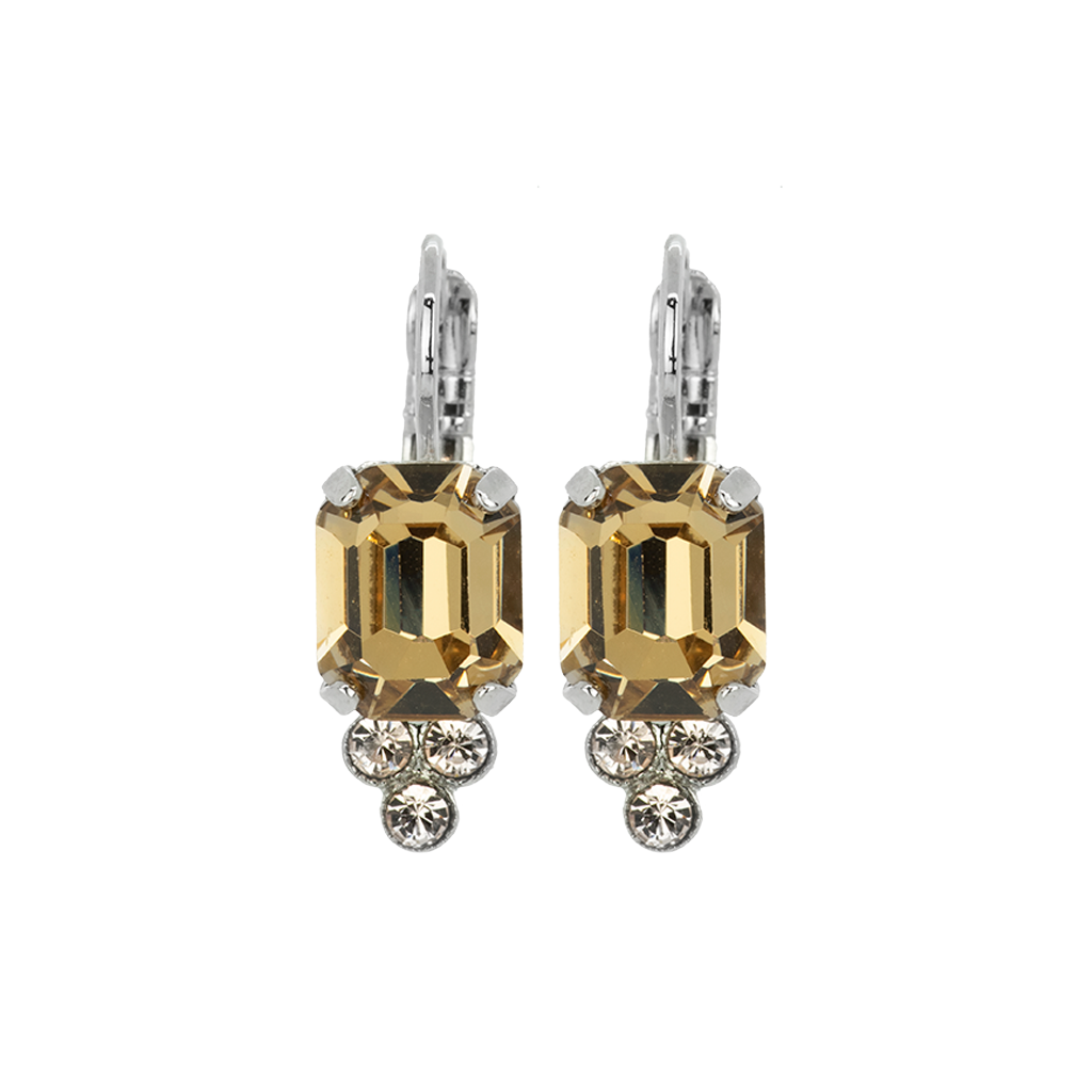 "*Preorder* Small Emerald Cut Leverback Earrings in ""Meadow Brown"""