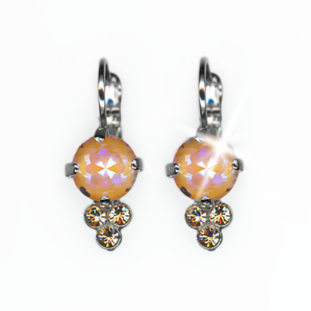 "Must-Have Leverback Earrings in Sun-Kissed ""Peach""- Rhodium"