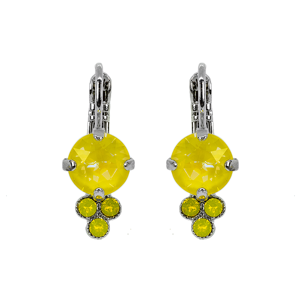 "Must-Have Leverback Earrings in Sun-Kissed ""Sunshine""- Rhodium"