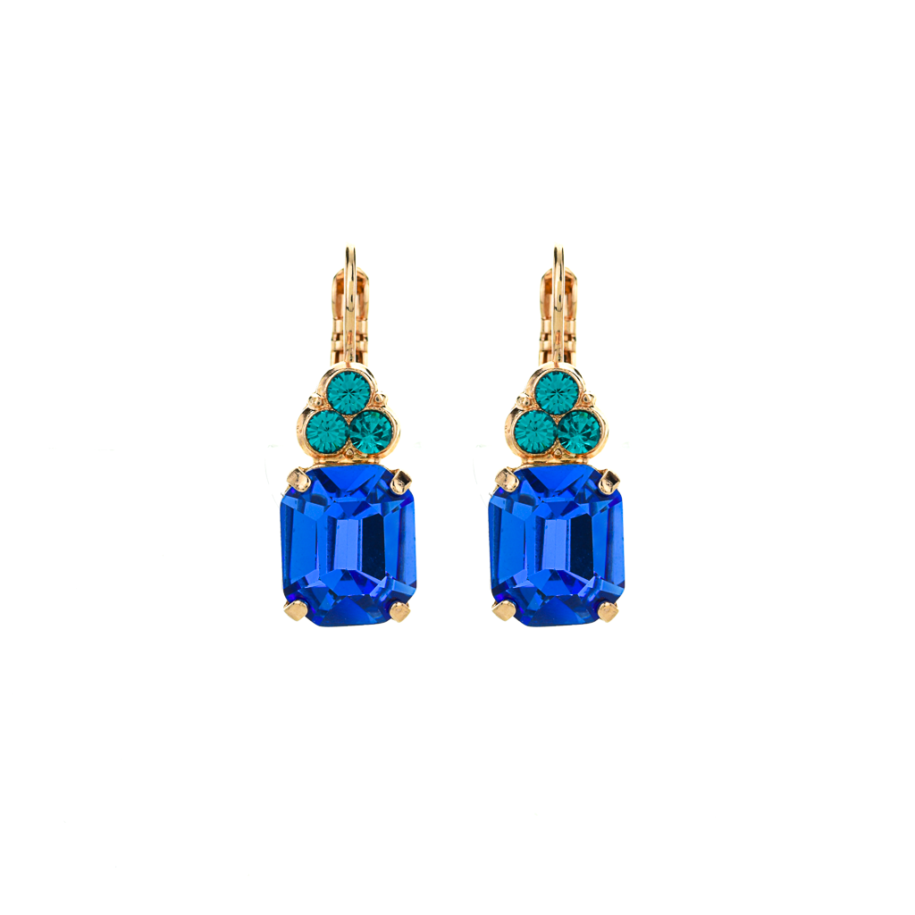 "Small Emerald Leverback Earrings with Trio Round Stones ""Serenity"" *Preorder*"