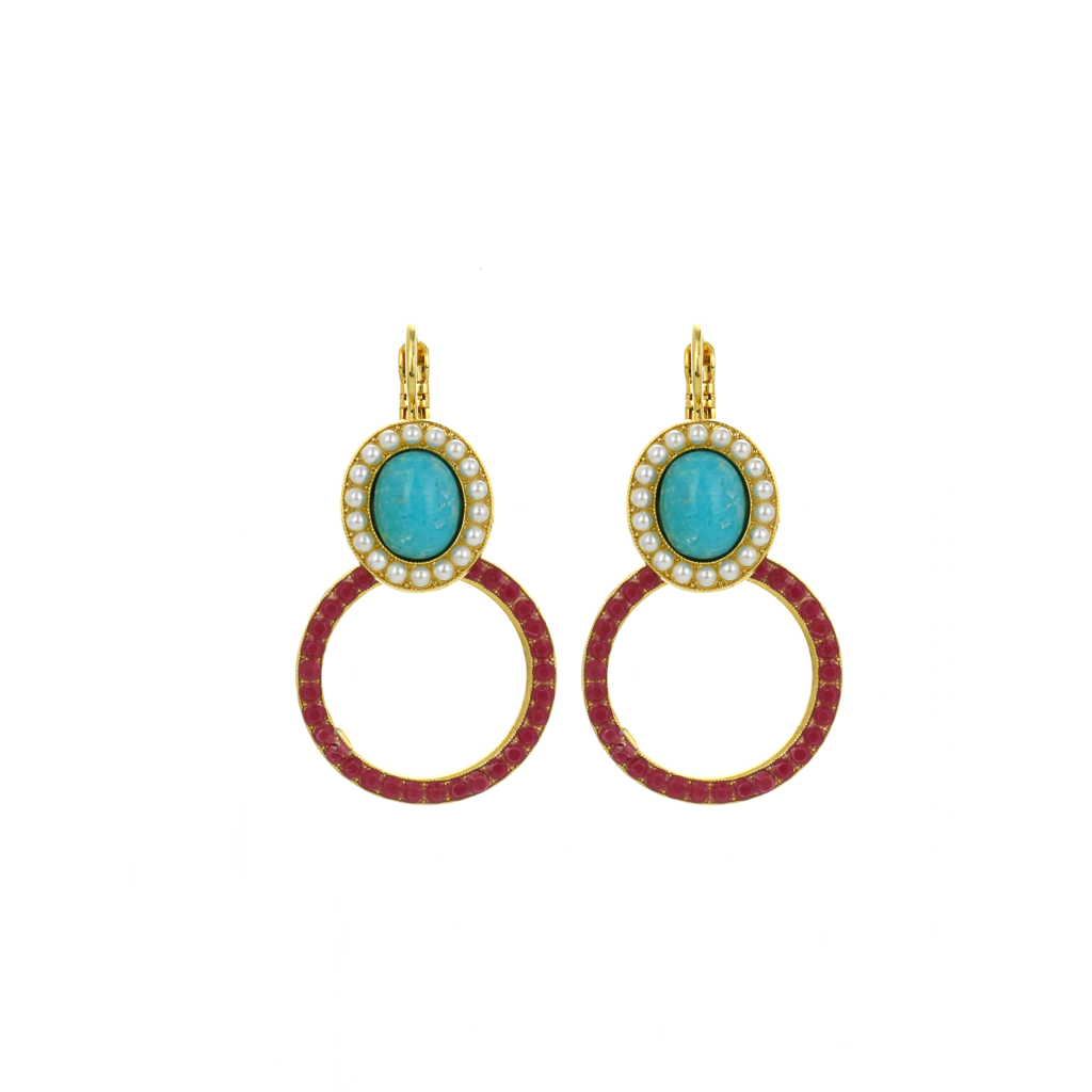 "Oval Halo Circle Leverback Earrings in ""Happiness-Turquoise"" *Preorder*"