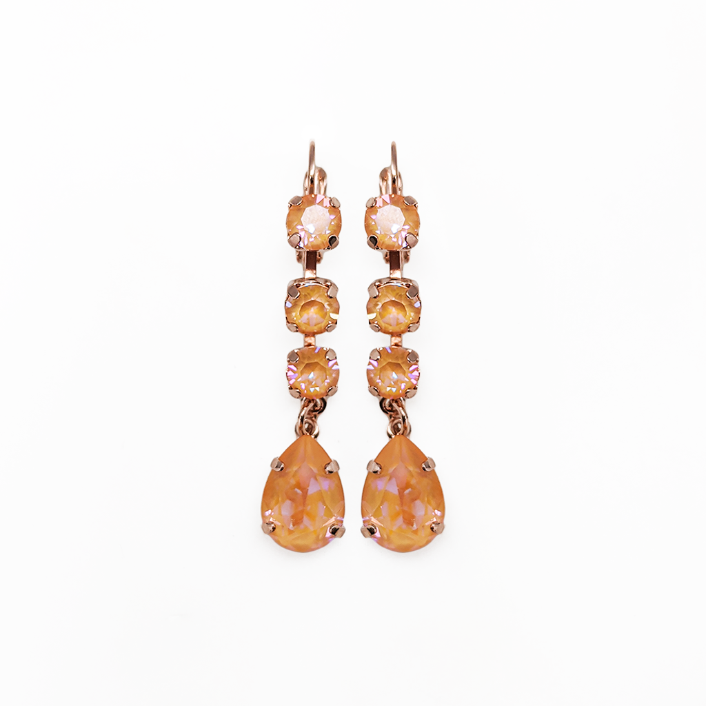 "Fun Finds Round and Pear Leverback Earrings in Sun-Kissed ""Peach"" - Rose Gold"