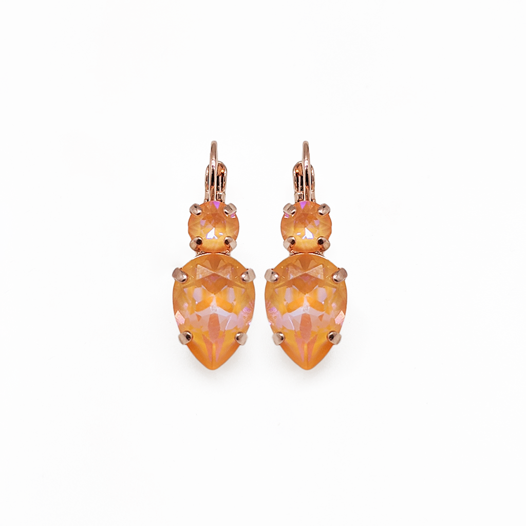 "Double Round and Pear Leverback Earrings in Sun-Kissed ""Peach"" *Preorder*"