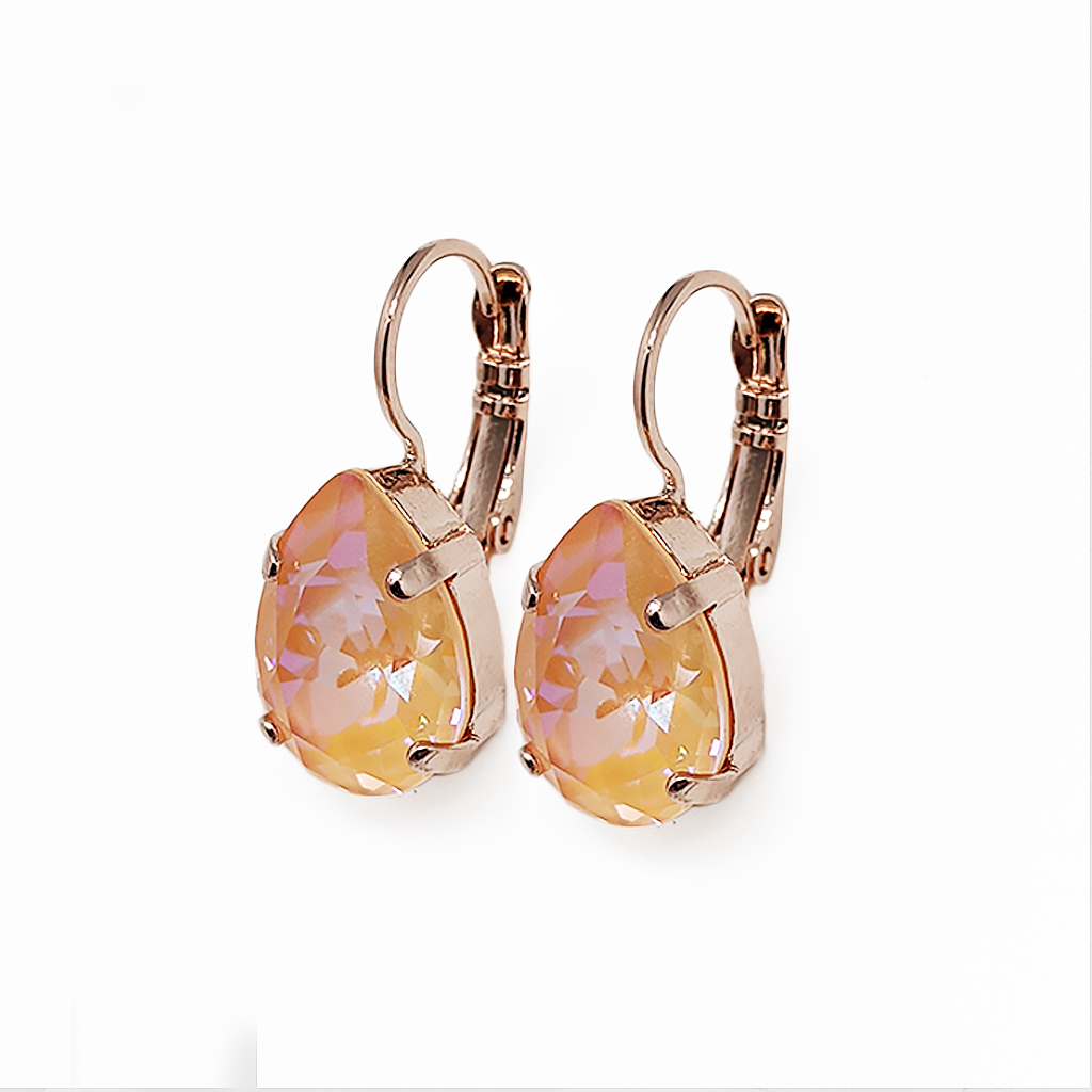 "Pear Leverback Earrings in Sun-Kissed ""Peach"" - Rose Gold"