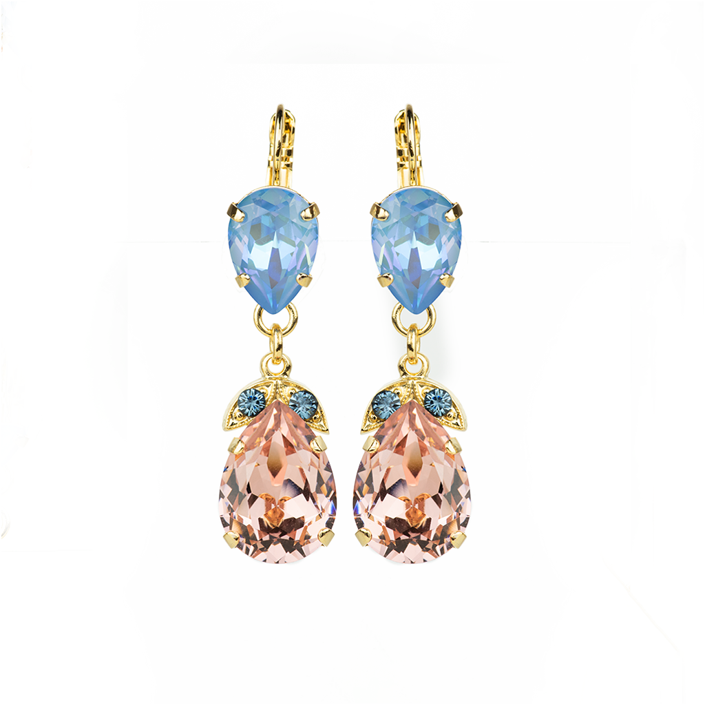"Double Stone Pear Leverback Earrings in ""Blue Morpho"" *Preorder*"