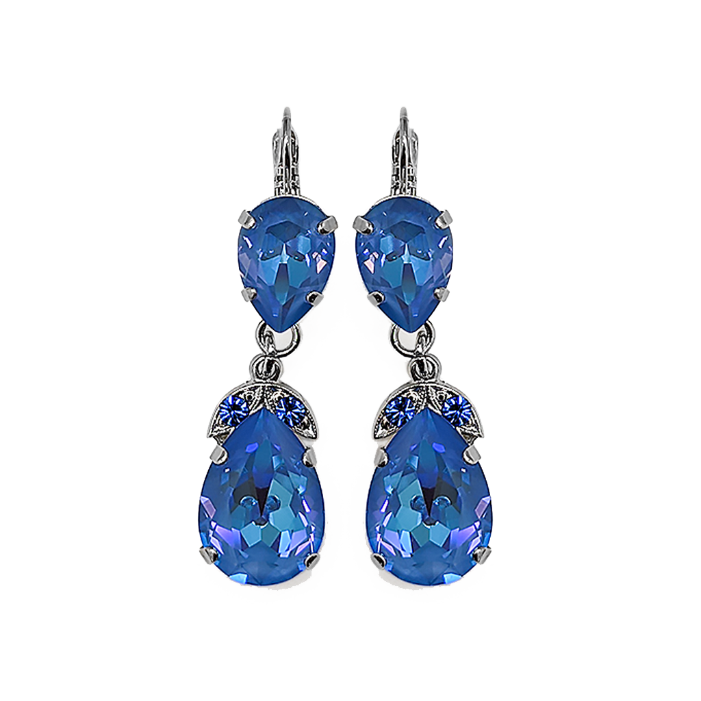 "Double Pear Leverback Earrings in Sun-Kissed ""Ocean"" *Preorder*"