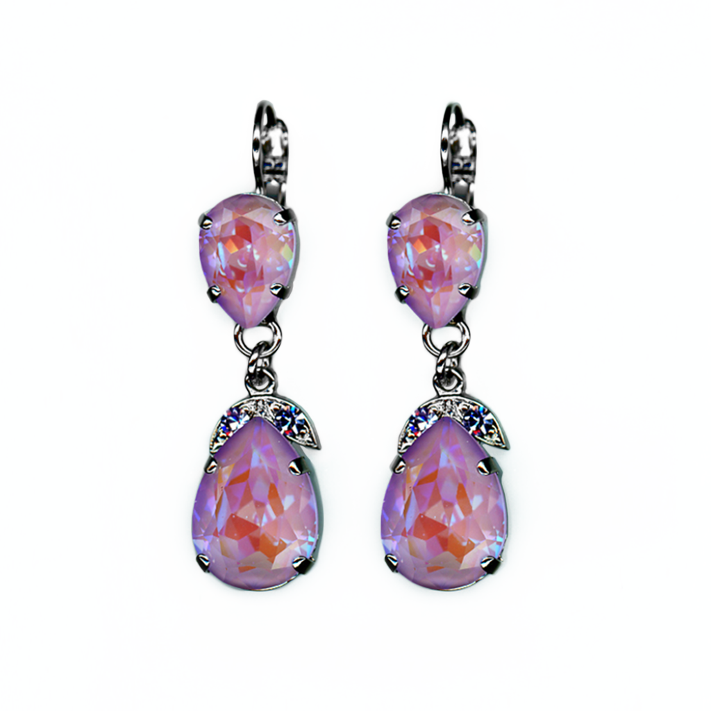 "Double Stone Pear Leverback Earrings in Sun-Kissed ""Lavender"" *Preorder*"