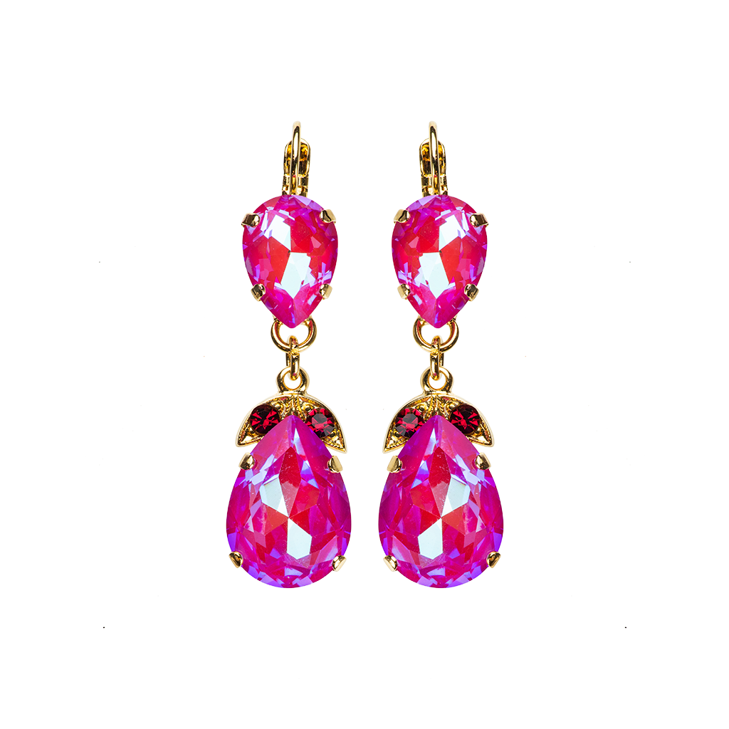 "Double Stone Pear Leverback Earrings in Sun-Kissed ""Blush"" *Preorder*"
